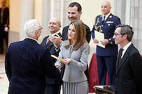 Manolo Blahnik, Prince Felipe of Spain and Princess Letizia of Spain attend the National Awards of Culture 2011 and 2012 at Palacio de El Pardo. February 19, 2013. (ALTERPHOTOS/Caro Marin) /NortePhoto