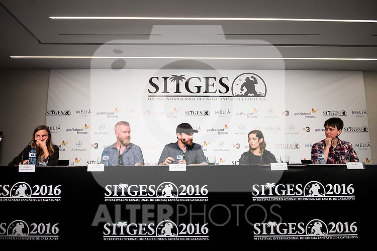 "Producer Casey Walker, the director Jeremy Gillespie, actress Kathleen Munroe and director Steven Kostanski during the press conference of the presentation of ""The Void"" at Festival de Cine Fantastico de Sitges in Barcelona. October 08, Spain. 2016. (ALTERPHOTOS/BorjaB.Hojas)"
