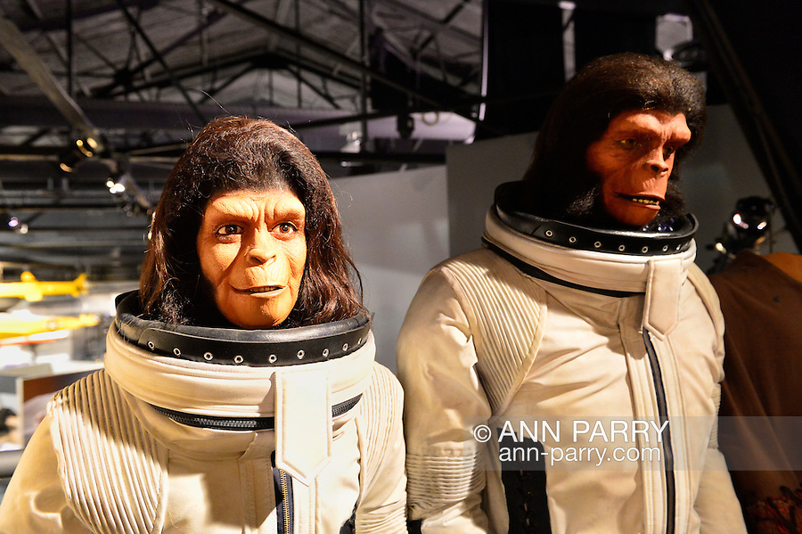 Garden City, New York. 15th June 2013. Dr. Zira and Cornelius, from the Planet of the Apes film, are on display in spacesuits at the Eternal Con Pop Culture Expo, which was hosted by the Cradle of Aviation Museum of Long Island. These and other film memorabilia was brought by Billy Simons, the owner of one of the world's largest personal collections of original Planet of the Apes costumes and props that were actually used in the 1960s and 1970s films.