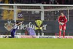 12.10.2018, Stadion an der Bremen Bruecke, Osnabrueck, GER, FSP, 1.FBL, VfL Osnabrueck vs Werder Bremen<br /> <br /> DFL REGULATIONS PROHIBIT ANY USE OF PHOTOGRAPHS AS IMAGE SEQUENCES AND/OR QUASI-VIDEO.<br /> <br /> im Bild / picture shows<br /> Marcos Alvarez (VfL Osnabrueck #9), Jaroslav Drobny (Werder Bremen #33), <br /> <br /> Foto © nordphoto / Ewert