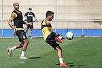 Getafe's Deyverson Da Silva (l) and Angel Rodriguez during training session. May 25,2020.(ALTERPHOTOS/Acero)