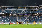 Solna 2015-07-09 Fotboll Kval UEFA Europa League AIK - VPS Vaasa :  <br /> Vy &ouml;ver Friends Arena med publik , tomma l&auml;ktarsektioner och med draperi &ouml;ver &ouml;vre etage under matchen mellan AIK och VPS Vaasa<br /> (Foto: Kenta J&ouml;nsson) Nyckelord:  AIK Gnaget Friends Arena UEFA Europa League Kval Kvalmatch Solna Stockholm VPS Vaasa Finland inomhus interi&ouml;r interior
