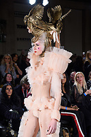 Model on the catwalk at the Pam Hogg show during London Fashion Week AW18, at the Freemasons' Hall in London, UK. <br /> 16 February  2018<br /> Picture: Steve Vas/Featureflash/SilverHub 0208 004 5359 sales@silverhubmedia.com