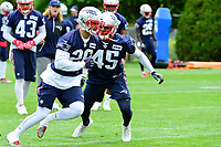 June 7, 2017: New England Patriots defensive back Jason Thompson (26) and defensive back Damarius Travis (45) works on drills at the New England Patriots mini camp held on the practice field at Gillette Stadium, in Foxborough, Massachusetts. Eric Canha/CSM