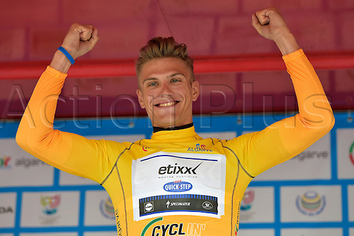18.02.2016. Lagoa, Algarvem Portugal. Tour of the Algarve, Cycling Tour. Stage 2 Lagoa to Alto Da Foia.  KITTEL Marcel (GER) of ETIXX - QUICK STEP celebrates the victory with the yellow jersey during the podium ceremony