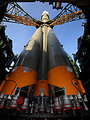 The Soyuz TMA-13 spacecraft arrives at the launch pad at the Baikonur Cosmodrome in Kazakhstan, Friday, Oct. 10, 2008 for launch Oct. 12 to carry Expedition 18 Commander Michael Fincke, Flight Engineer Yury V. Lonchakov and American Spaceflight Participant Richard Garriott to the International Space Station. The three crew members will dock their Soyuz to the International Space Station on Oct. 14. Fincke and Lonchakov will spend six months on the station, while Garriott will return to Earth Oct. 24, 2008 with two of the Expedition 17 crew members currently on the International Space Station.<br /> Mandatory Credit: Bill Ingalls / NASA via CNP