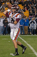 Virginia Tech quarterback Michael Brewer. The Pitt Panthers defeated the Virginia Tech Hokies 21-16 at Heinz Field, Pittsburgh Pennsylvania on October 16, 2014