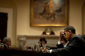 Washington, DC - October 29, 2009 -- United States President Barack Obama meets with leaders of the Progressive, Black, Hispanic and Asian Pacific Caucuses in the Roosevelt Room of the White House, October 29, 2009. .Mandatory Credit: Pete Souza - White House via CNP