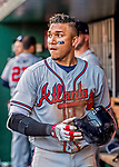 8 July 2017: Atlanta Braves infielder Johan Camargo removes his batting helmet in the dugout after scoring in the 8th inning against the Washington Nationals at Nationals Park in Washington, DC. The Braves shut out the Nationals 13-0 to take the third game of their 4-game series. Mandatory Credit: Ed Wolfstein Photo *** RAW (NEF) Image File Available ***