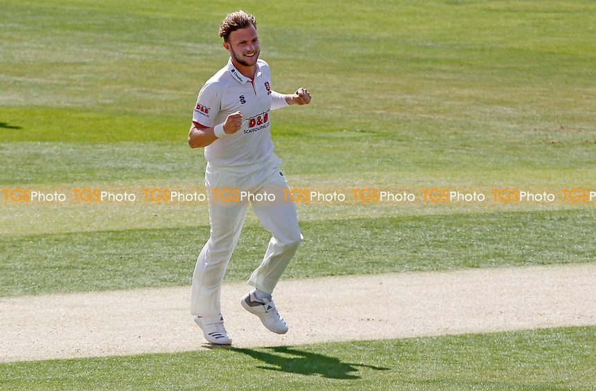 Sam Cook of Essex celebrates taking the wicket of Jack leaning during Essex CCC vs Kent CCC, Bob Willis Trophy Cricket at The Cloudfm County Ground on 1st August 2020