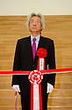 """September 17, 2011 : Yokohama, Japan - Junichiro Koizumi, Japan's Former Prime Minister, cuts the tape at the grand opening ceremony of the Nissin Cup Noodles Museum. Visitors can learn about the history of the Cup Noodles product and partake in a session to make their own homemade instant ramen noodles at the museum's """"Chikin Noodle Factory"""". The museum's art director, Kashiwa Sato, is also in charge of graphic design for the massive Japanese clothes retailer Uniqlo. (Photo by Yumeto Yamazaki/AFLO)"""