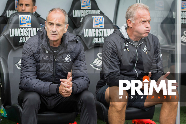 Swansea manager Francesco Guidolin and his assistant Alan Curtis during the EPL - Premier League match between Swansea City and Hull City at the Liberty Stadium, Swansea, Wales on 20 August 2016. Photo by Mark  Hawkins / PRiME Media Images.