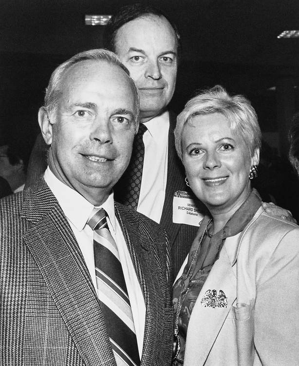Rep. Norman F. Lent with Sen. Richard Shelby, D-Ala. and wife Barbara Morris Lent at the National Restaurant Association sponsored event, the 7th Annual 'Chef D' Oeuvre', featuring specialties of the area, held in the Longworth Cafeteria on Sept. 5, 1989. (Photo by Laura Patterson/CQ Roll Call)