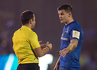 Leinster's Johnny Sexton talks to Referee Mathieu Raynal<br /> <br /> Photographer Bob Bradford/CameraSport<br /> <br /> Heineken Champions Cup Pool 1 - Bath v Leinster - Saturday 8th December 2018 - The Recreation Ground - Bath<br /> <br /> World Copyright © 2018 CameraSport. All rights reserved. 43 Linden Ave. Countesthorpe. Leicester. England. LE8 5PG - Tel: +44 (0) 116 277 4147 - admin@camerasport.com - www.camerasport.com