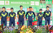 6th September 2017, Mansfield, England; OVO Energy Tour of Britain Cycling; Stage 4, Mansfield to Newark-On-Trent;  The Movistar Team pose for photos after registration sign-in at Mansfield