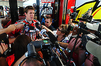 Sept. 26, 2008; Kansas City, KS, USA; Nascar Sprint Cup Series driver Carl Edwards during qualifying for the Camping World RV 400 at Kansas Speedway. Mandatory Credit: Mark J. Rebilas-
