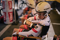 Michael Gogl (AUT/Trek-Segafredo) cooling himself in th ewaiting area just before the start of his TTT<br /> <br /> Stage 3 (Team Time Trial): Cholet > Cholet (35km)<br /> <br /> 105th Tour de France 2018<br /> ©kramon