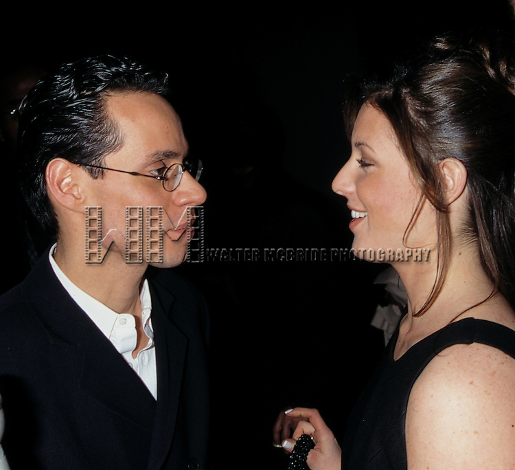 Marc Anthony and girlfriend Amy Jacobs.on the Opening Night of CAPEMAN at the Marquis Theatre in New York City..January 30, 1998.© Walter McBride /