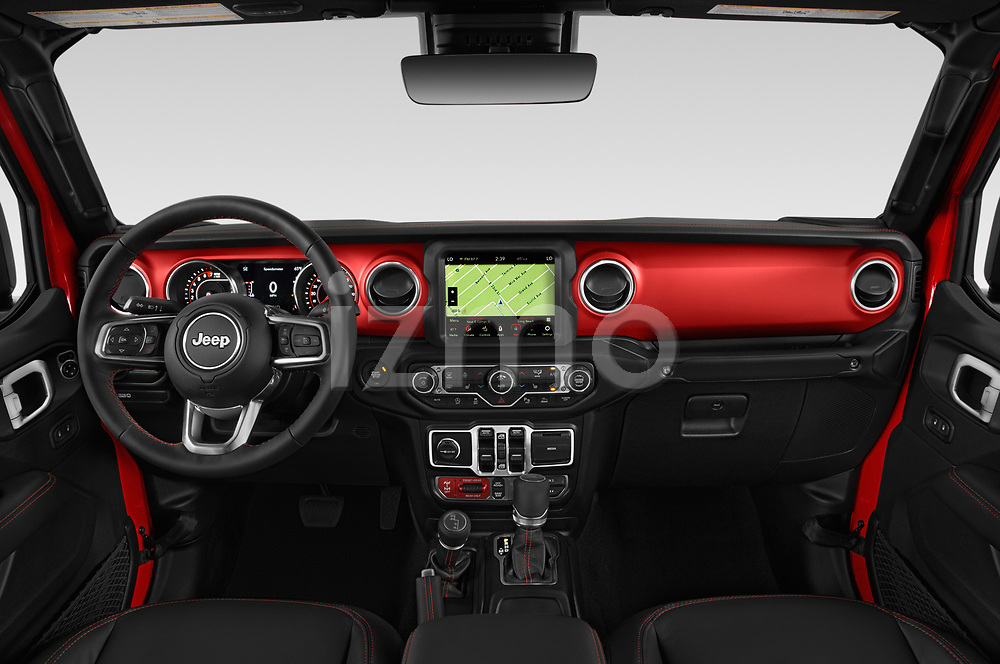 Stock photo of straight dashboard view of a 2020 Jeep Gladiator Rubicon 4 Door Pick Up