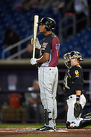 Wisconsin Timber Rattlers outfielder Elvis Rubio (17) at bat during the second game of a doubleheader against the Quad Cities River Bandits on August 19, 2015 at Modern Woodmen Park in Davenport, Iowa.  Quad Cities defeated Wisconsin 8-1.  (Mike Janes/Four Seam Images)