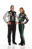 Feb 10, 2016; Pomona, CA, USA; NHRA top fuel driver Dave Connolly (left) and teammate Leah Pritchett pose for a portrait during media day at Auto Club Raceway at Pomona. Mandatory Credit: Mark J. Rebilas-USA TODAY Sports