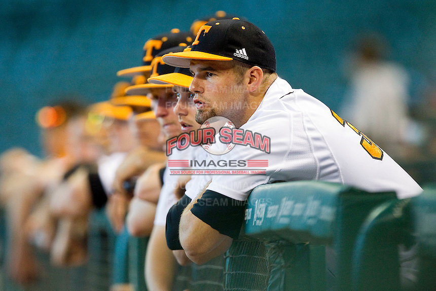 The Tennessee Volunteers bench looks on during the game against the Texas Longhorns at Minute Maid Park on March 3, 2012 in Houston, Texas.  The Volunteers defeated the Longhorns 5-4.  (Brian Westerholt/Four Seam Images)