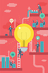 Illustrative image of businesspeople and bulb representing business idea and profit