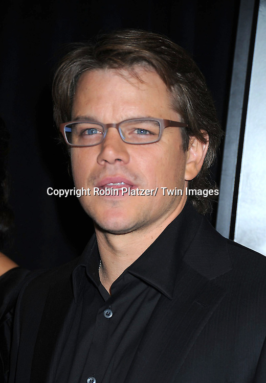 "Matt Damon  attending The World Premiere of "" The Adjustment Bureau"" on February 14, 2011.at The Ziegfeld Theatre in New York City..Matt Damon and Emily Blunt are the stars of the movie"
