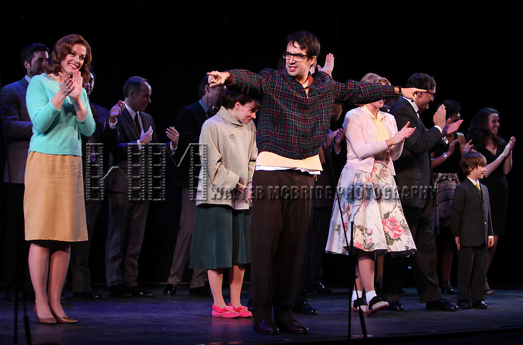 Elizabeth Stanley, Lin-Manuel Miranda, Colin Donnell & the Encores! Cast members during the Curtain Call for ENCORES!  'Merrily We Roll Along'  at City Center in New York City, 2/14/2012
