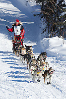 Aliy Zirkle on Long Lake at the Re-Start of the 2012 Iditarod Sled Dog Race