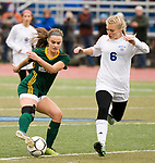 MIDDLETOWN, CT-111817JS28- Holy Cross' Madison Bushka (13) makes a move to get around Old Lyme's Ellery Zrenda (6) during their Class S state final game Saturday at Middletown High School.<br /> Jim Shannon Republican-American