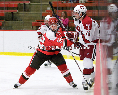 Matt Raley (St. Lawrence - 52), Alex Killorn (Harvard - 19) - The St. Lawrence University Saints defeated the Harvard University Crimson 3-2 on Friday, November 20, 2009, at the Bright Hockey Center in Cambridge, Massachusetts.