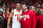 Wisconsin Badgers Jordan Taylor (11) with Chad Wuttke after a Big Ten Conference NCAA college basketball game against the Illinois Fighting Illini on Sunday, March 4, 2012 in Madison, Wisconsin. The Badgers won 70-56. (Photo by David Stluka)
