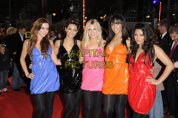 "THE SATURDAYS .The UK Film Premiere of ""High School Musical 3: Senior Year"" at the Empire Leicester Square in London, England, UK, October 7th 2008. .half length blue dress red orange pink dresses black hand on hip tights shiny bows matching.CAP/FIN.©Steve Finn/Capital Pictures"