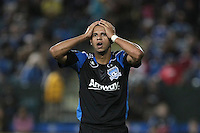 San Jose Earthquakes defender Jason Hernandez (21) reacts after the play during the Colorado Rapids 2-1 victory over the San Jose Earthquakes at Buck Shaw Stadium in Santa Clara, California.