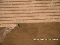 63801-09601 Soybean Harvest, John Deere combine harvesting soybeans - aerial - Marion Co. IL