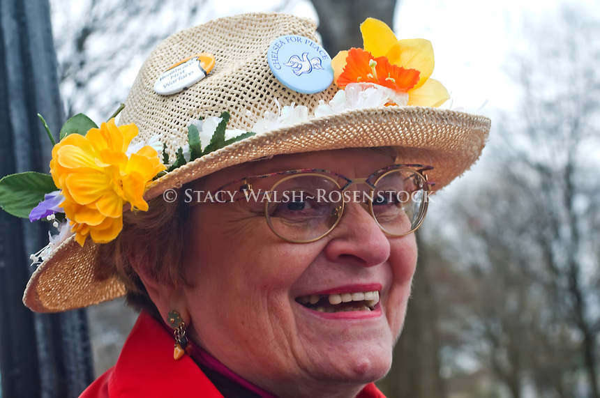 Granny Brigade member Shirley Littman wears a flowered straw hat during a rally in Battery Park against corporate bail outs. ©Stacy Walsh Rosenstock