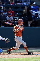 Kody Clemens (2) of the Texas Longhorns bats against the UCLA Bruins at Jackie Robinson Stadium on March 12, 2016 in Los Angeles, California. UCLA defeated Texas, 5-4. (Larry Goren/Four Seam Images)