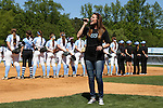 24 April 2016: Recording artist Taryn Papa, niece of UNC's head coach Donna J. Papa (not pictured), sings the national anthem before the game. The University of North Carolina Tar Heels hosted the University of Notre Dame Fighting Irish at Anderson Stadium in Chapel Hill, North Carolina in a 2016 NCAA Division I softball game. UNC won game 1 of the doubleheader 7-4.