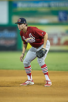 Johnson City Cardinals first baseman Hunter Newman (32) on defense against the Burlington Royals at Burlington Athletic Park on August 22, 2015 in Burlington, North Carolina.  The Cardinals defeated the Royals 9-3. (Brian Westerholt/Four Seam Images)