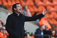 Blackpool manager Gary Bowyer gestures<br /> <br /> Photographer Richard Martin-Roberts/CameraSport<br /> <br /> The EFL Sky Bet League Two - Blackpool v Grimsby Town - Saturday 8th April 2017 - Bloomfield Road - Blackpool<br /> <br /> World Copyright &copy; 2017 CameraSport. All rights reserved. 43 Linden Ave. Countesthorpe. Leicester. England. LE8 5PG - Tel: +44 (0) 116 277 4147 - admin@camerasport.com - www.camerasport.com