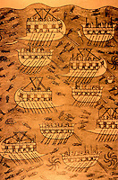 World Civilization:  Ancient Ships--Phoenician ships. Two-banked warships and transports. Relief from Palace of Sennacherib.