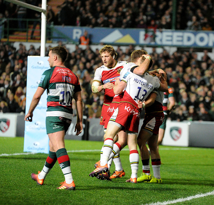 Northampton Saints' Tom Collins celebrates scoreing his side's second try<br /> <br /> Photographer Hannah Fountain/CameraSport<br /> <br /> Gallagher Premiership - Leicester Tigers v Northampton Saints - Friday 22nd March 2019 - Welford Road - Leicester<br /> <br /> World Copyright © 2019 CameraSport. All rights reserved. 43 Linden Ave. Countesthorpe. Leicester. England. LE8 5PG - Tel: +44 (0) 116 277 4147 - admin@camerasport.com - www.camerasport.com