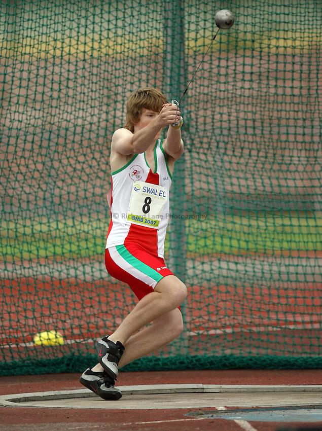 Photo: Rich Eaton...Schools International Athletic Board, Track & Field International Match, Newport. 21/07/2007. Rhys Hodnett of Wales wins bronze in the boys hammer.