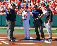 Clemson head coach Jack Leggett explains ground rules prior to a game between the Clemson Tigers and USC Gamecocks on March 2, 2008, at Doug Kingsmore Stadium in Clemson. At right is Gamecocks head coach Ray Tanner. Photo by: Tom Priddy/Four Seam Images