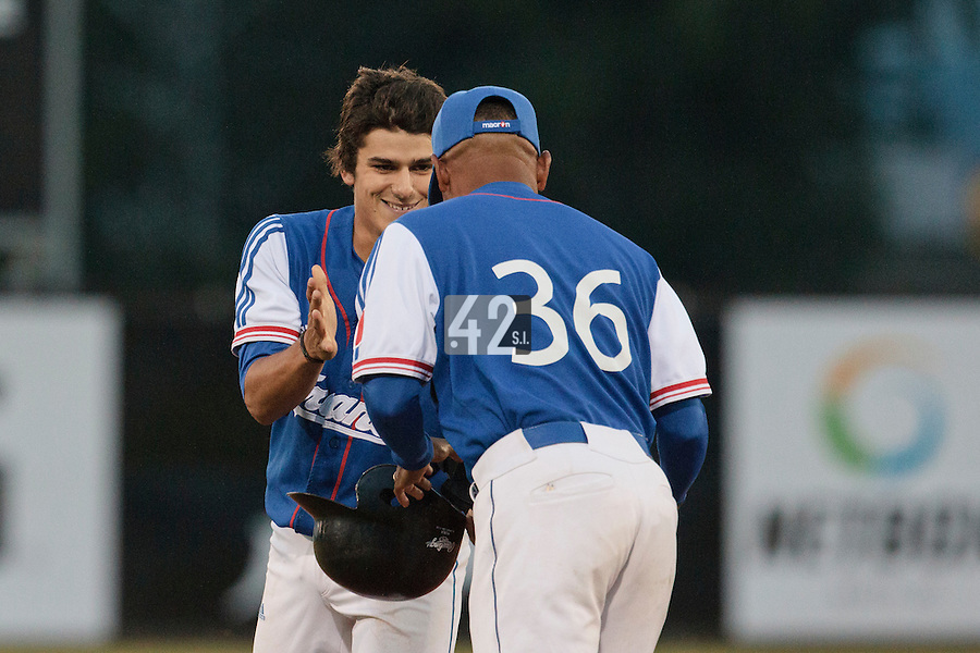 17 August 2010: Maxime Lefevre of Team France celebrates with Gerardo Leroux during the Czech Republic 4-3 win over France, at the 2010 European Championship, under 21, in Brno, Czech Republic.