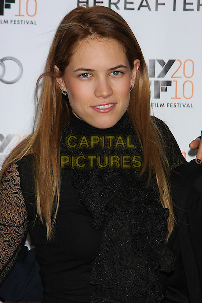 "CODY HORN .attends the Gala screening of ""Hereafter"" on the Closing Night of the 48th New York Film Festival at Alice Tully Hall, Lincoln Center,  New York, NY, USA, October 10th, 2010..portrait headshot black lace high polo neck ruffles ruffle .CAP/LNC/TOM.©LNC/Capital Pictures."
