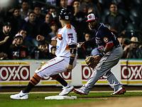 Joven Rosa tercera base de los mayos, durante el juego de beisbol de la Liga Mexicana del Pacifico temporada 2017 2018. Cuarto juego de la serie de playoffs entre Mayos de Navojoa vs Naranjeros. 05Enero2018. (Foto: Luis Gutierrez /NortePhoto.com)