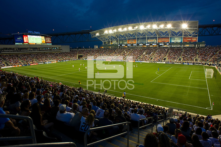 Over 18, 500 fans watch the United States (USA) take on China PR (CHN). The United States (USA) women defeated China PR (CHN) 4-1 during an international friendly at PPL Park in Chester, PA, on May 27, 2012.