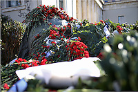 Pictured: Red carnations and wreaths left at the monument for the uprising at the Athens Polytechinc in Athens Greece. Thursday 17 November 2016<br /> Re: 43rd anniversary of the Athens Polytechnic uprising of 1973 which was a massive demonstration of popular rejection of the Greek military junta of 1967–1974. The uprising began on November 14, 1973, escalated to an open anti-junta revolt and ended in bloodshed in the early morning of November 17 after a series of events starting with a tank crashing through the gates of the Polytechnic.